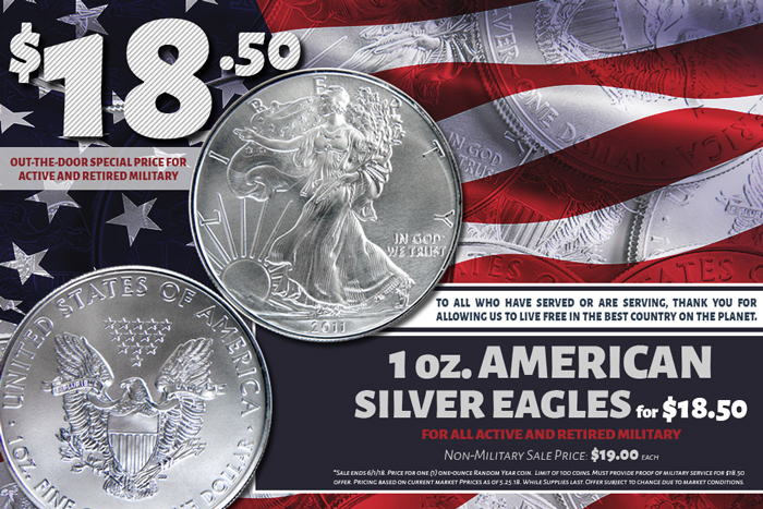 Military special price for Memorial Day Sale on Silver Eagles